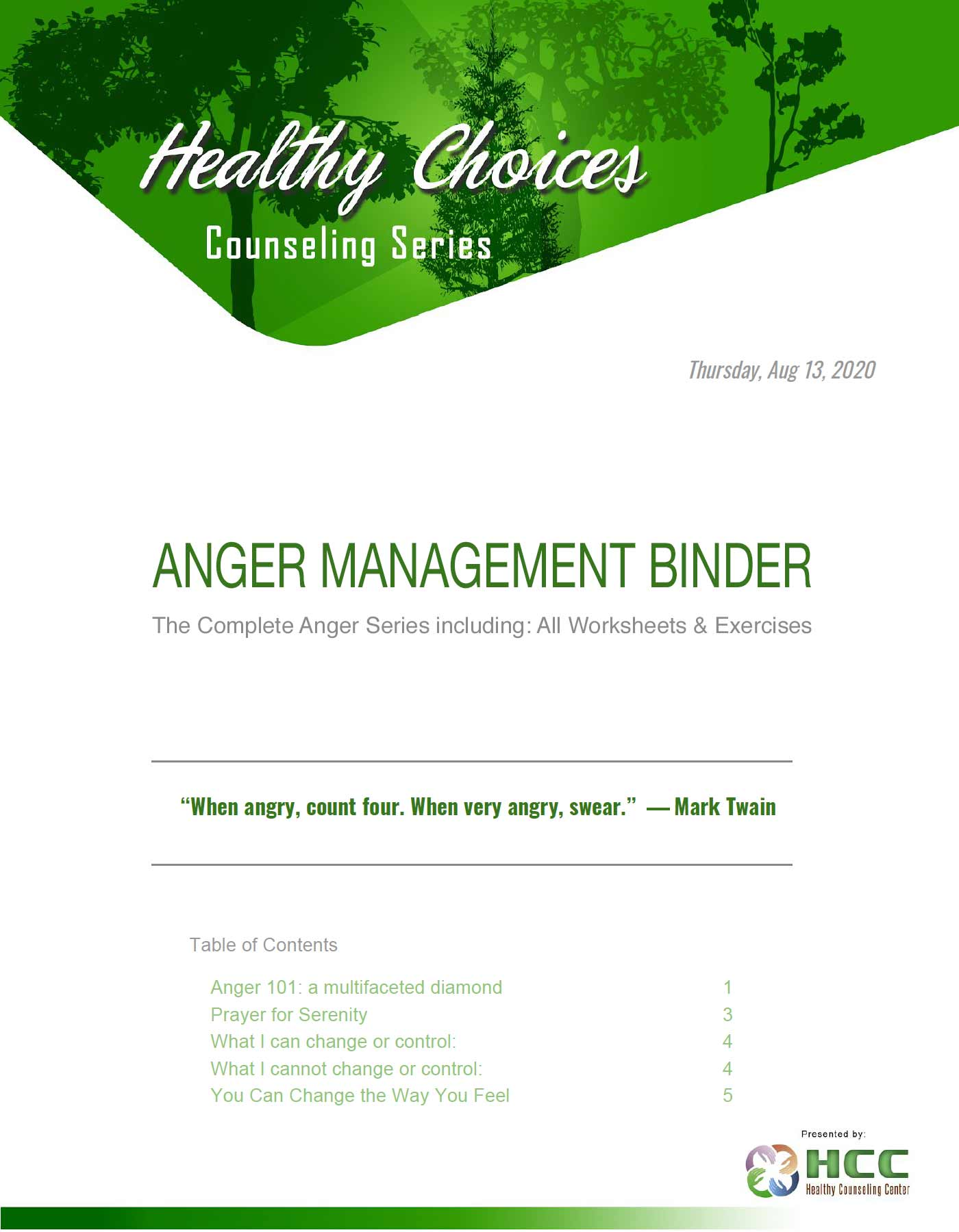 Anger Management Binder